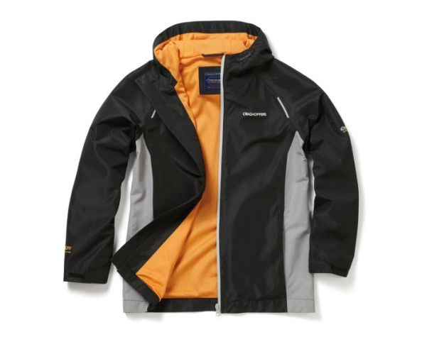 Discovery Adventures waterproof jacket in black quarry grey by Craghoppers