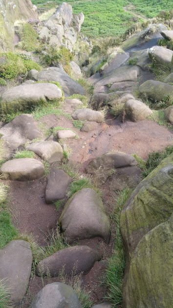 Walks And Walking - The Loaches Walk In The Peak District - Roaches rocky track down