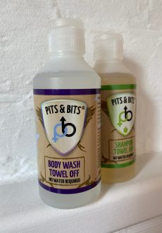 Pits and Bits offers a towel off shampoo and body wash with no water required.