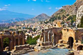 Taormina and Mt. Etna in Sicily, Italy