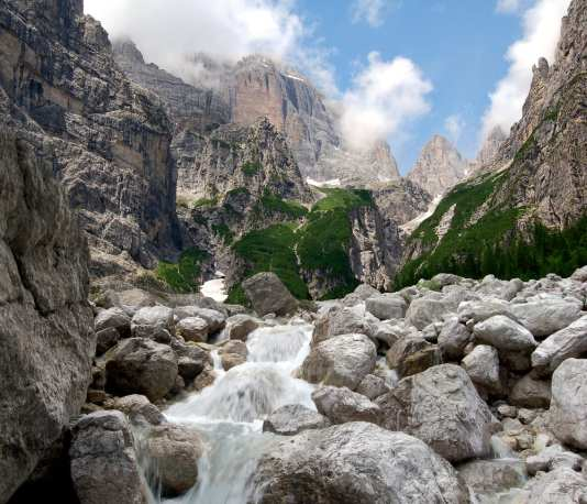 Trekking a pass in the Dolomites, Italy