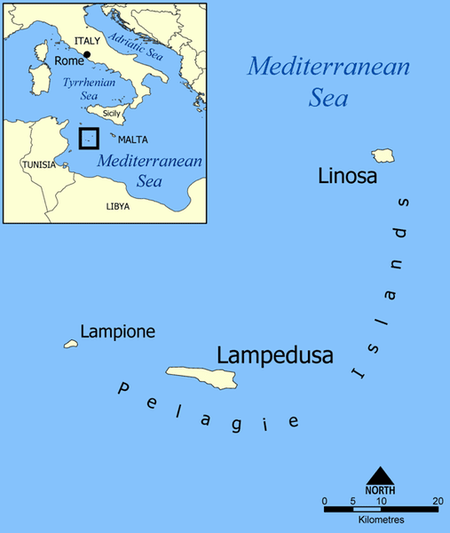 Map Of Italy And Islands.The Pelagie Islands Of Sicily
