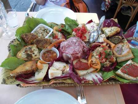 Antipasto, part of an Italian menu