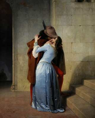 The Kiss by Francesco Hayez is regarded as a symbol of Italian Romanticism, a nostalgic look back at the Middle Ages and a portrayal of the spirit of the Italian Unification. It's home is the Pinacoteca di Brera in Milan.