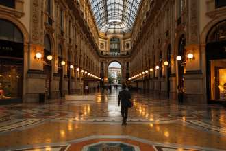 Walking in the Galleria Vittorio Emanuele in Milan. Find out the coolest places to stay in Milan on the Walks of Italy Blog.