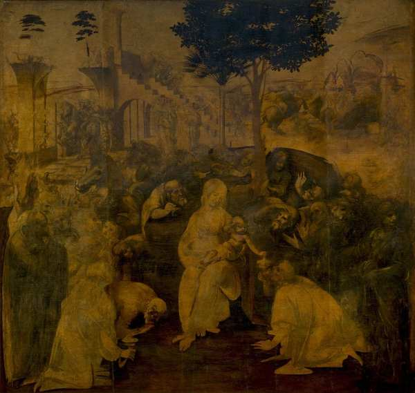 Da Vinci spent three years working on the Adoration of the Magi and yet it still remains unfinished. Public domain photo via Wikicommons