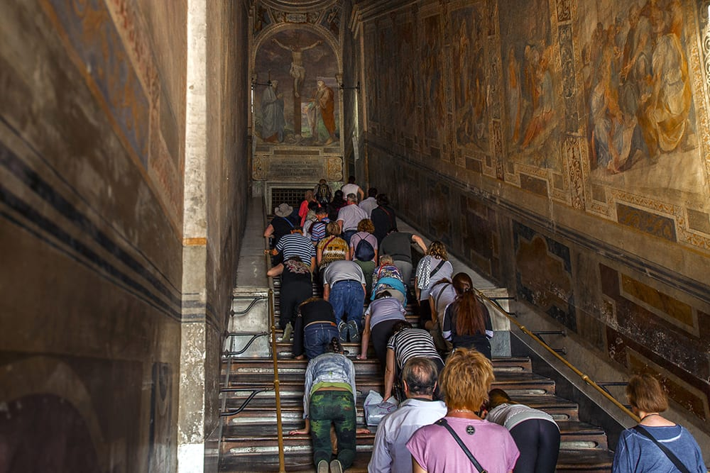 The Scala Sancta is one of the largest relics in the world - an entire stone staircase brought from the Holy Land by Saint Helena.