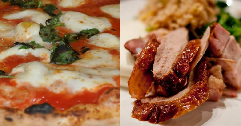 Pizza and Peking duck is a match made in heaven.