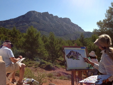 Painting Cézanne's beloved Mont Sainte-Victure during our plein air painting workshop in Provence