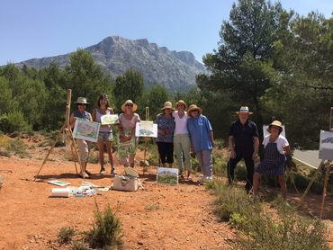 artists painting the famous Mont Sainte-Victoire during our art retreat in France