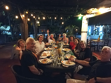 Enjoying dinner with a group of artists and foodies during our art vacation in South America