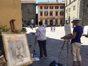 Artists painting in Cortona during our art retreat in Tuscany