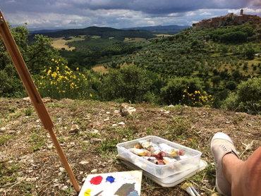 plein air painting workshop in Tuscany for oils, acrylics and watercolors