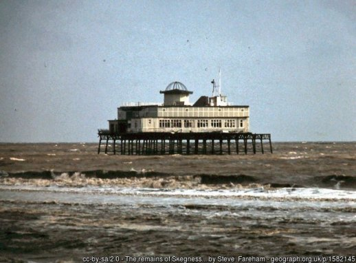 The remains of Skegness pier 1979 On 11th January 1978, Skegness pier along with the piers at Margate, Herne Bay and Hunstanton, were damaged by a northerly gale with high spring tides.
