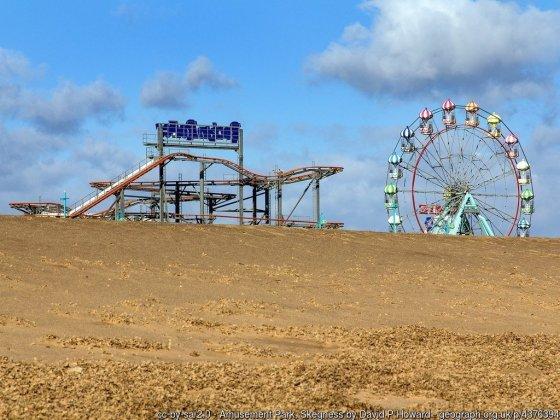 Amusement Park, Skegness View north west from the beach towards the amusement park.