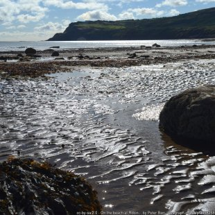 On the beach at Robin Hood's Bay Looking south at low tide towards the promontory of Ravenscar.