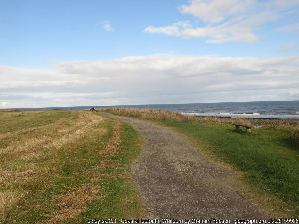 Coastal footpath, Whitburn A footpath which follows the top of low coastal cliffs at Whitburn.