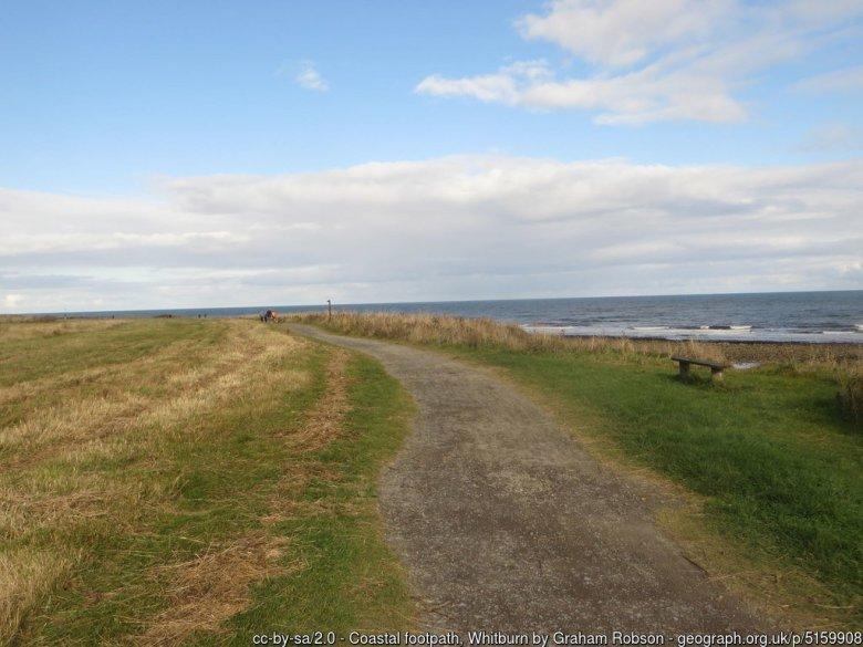 Coastal footpath, Whitburn A footpath which follows the top of low coastal cliffs at Whitburn.