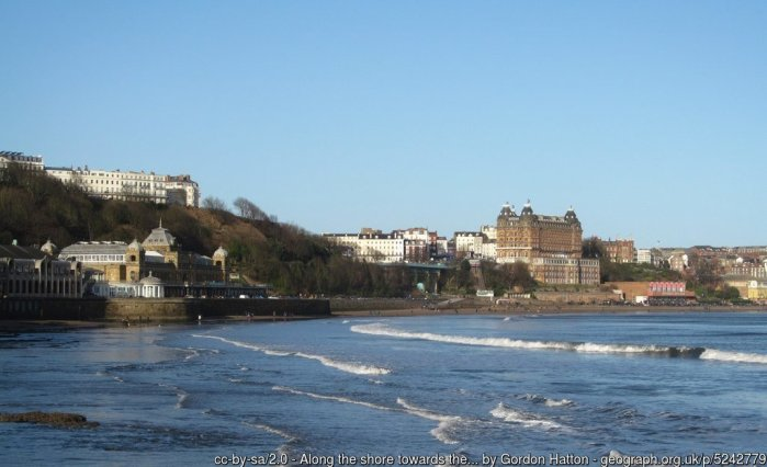Along the shore towards the Spa Complex A Boxing Day view along the South Bay at Scarborough with the Spa Complex closest, the elegant hotels on the Esplanade above and the giant Victorian Grand Hotel in the distance