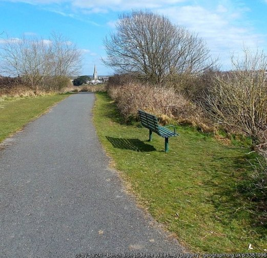 Bench alongside the Wales Coast Path, Kidwelly