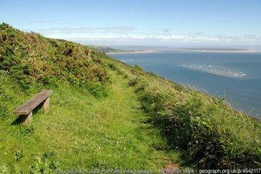 Coast Path and view towards Pembrey beach
