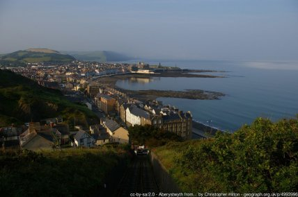 Aberystwyth from Constitution Hill Early on a June morning, mist clings to the cliffs south of town.