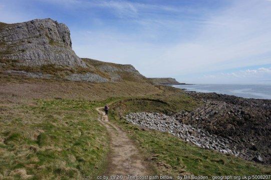 The coast path below Overton Cliff