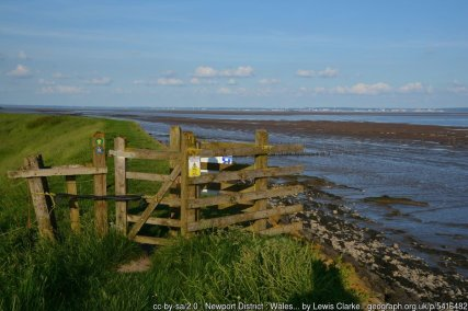 Newport District : Wales Coast Path Looking along the Wales Coast Path along the Severn Estuary.