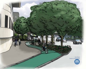 A rendering by Bike Union volunteer Jessi Flynn of the Bike Union's redesign of Route 9