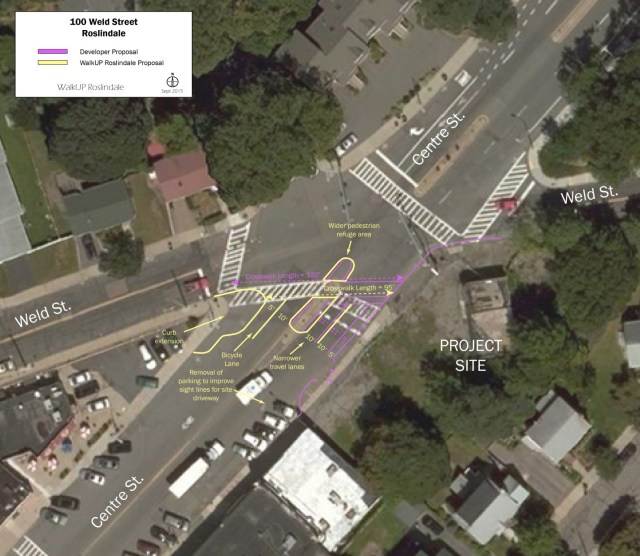 Sketch Plan showing WalkUP Roslindale Proposal for Weld/Centre Intersection