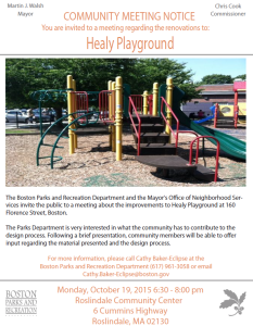 Healy Field Community Meeting Flyer