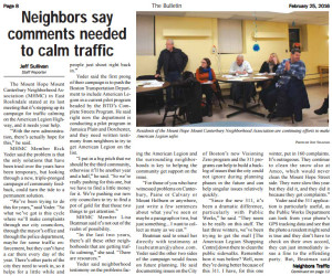 2016-02-24 Roslindale Bulletin Neighbors say comments needed to calm traffic