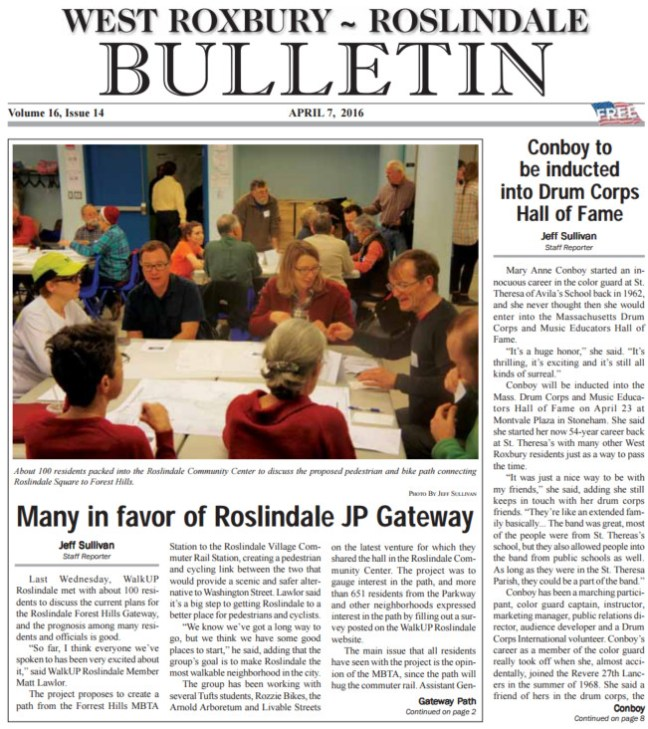 2014-04-06 Roslindale Bulletin on Gateway Path