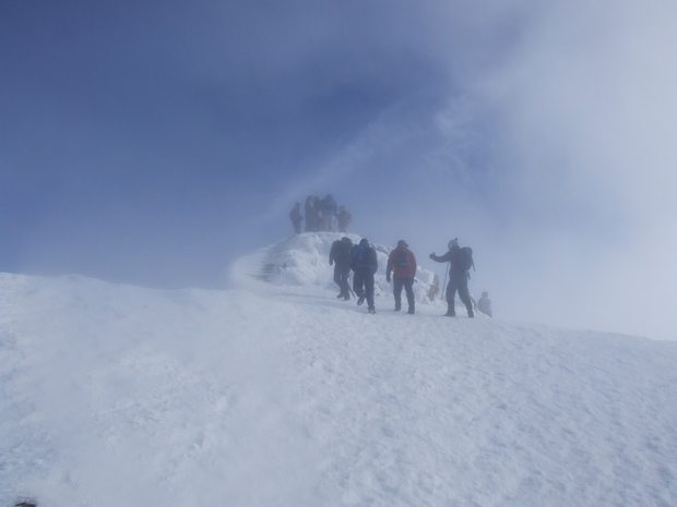 Walking up Snowdon in Winter and Snow
