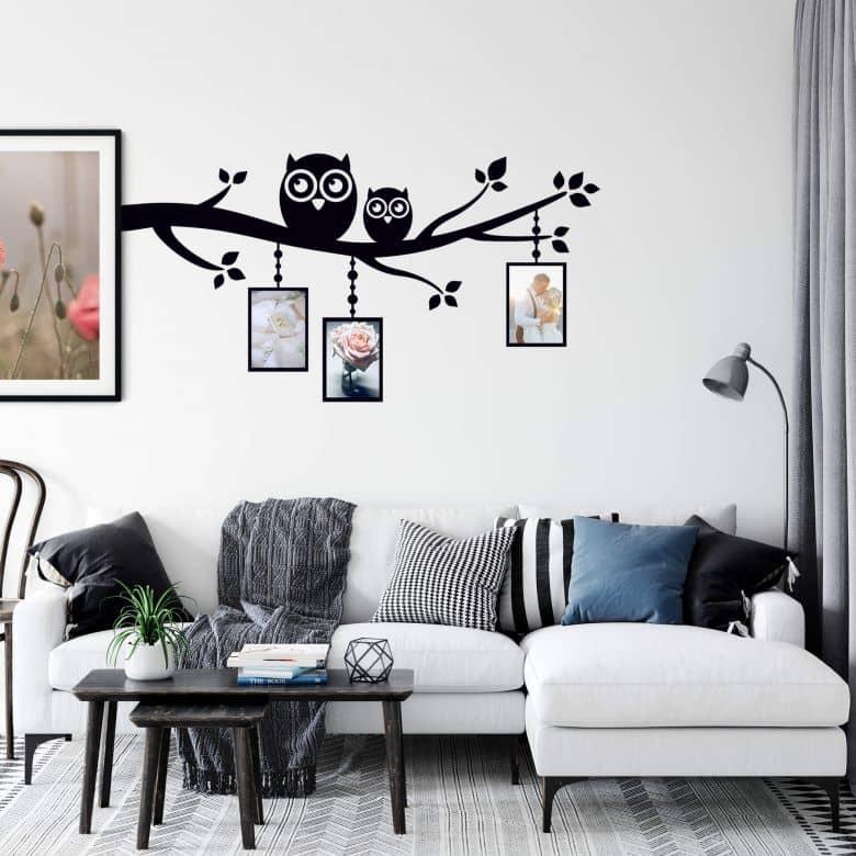 sticker mural branche avec hiboux et cadres photos