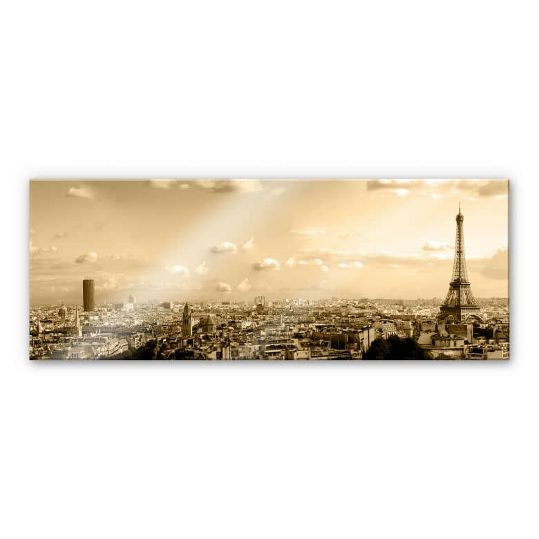tableau en verre acrylique paris skyline panorama