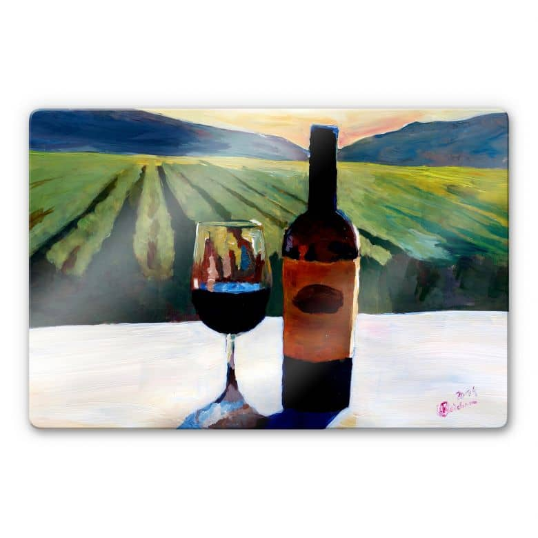tableau en verre bleichner napa valley bouteille de vin avec du vin rouge