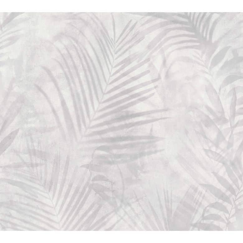 a s creation papier peint intisse neue bude 2 0 edition 2 feuilles de palmier gris blanc creme