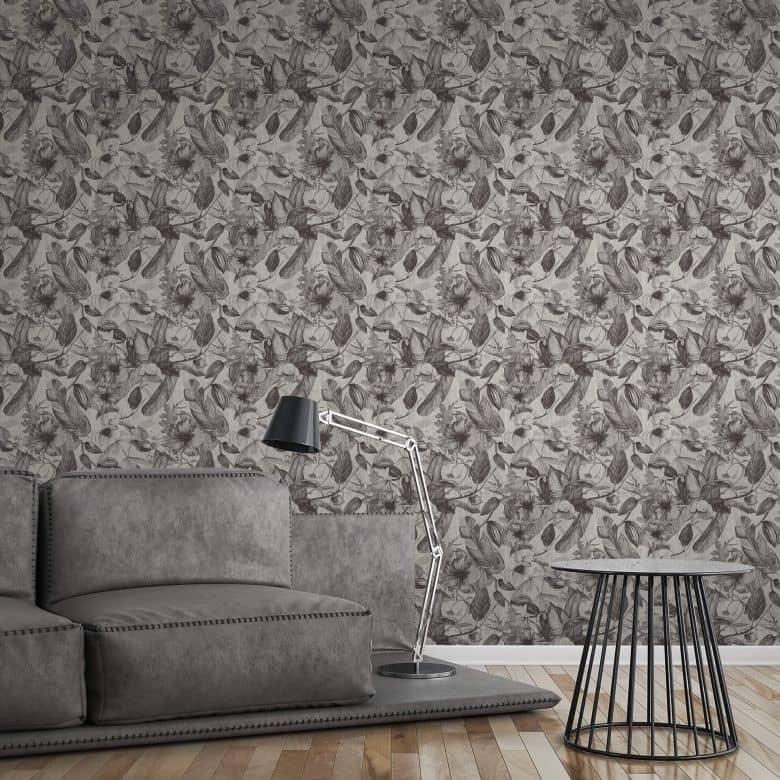 a s creation papier peint intisse greenery floral gris blanc noir
