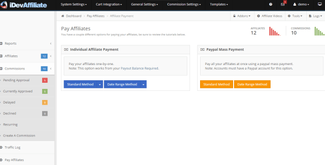 idev affiliate admin ac for affiliate payments