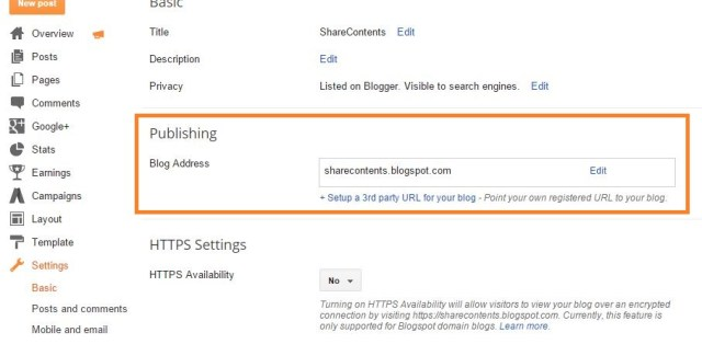 blogger settings page