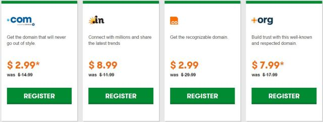 GoDaddy domain name prices