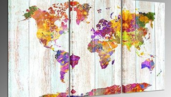 World Map In Large Size. Kreative Arts  Large Size Canvas Prints Wall Art Watercolor Push Pin Travel World Map Modern Vintage map Poster Printed on