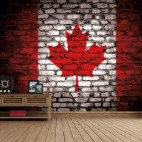 Canada Flag - Brickwall View - Fleece Wallpaper (Roll)