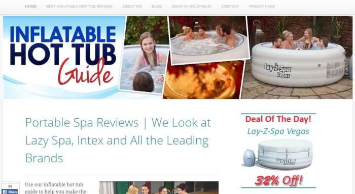 InflatableHotTubGuide -Amazon Affiliate Website Example