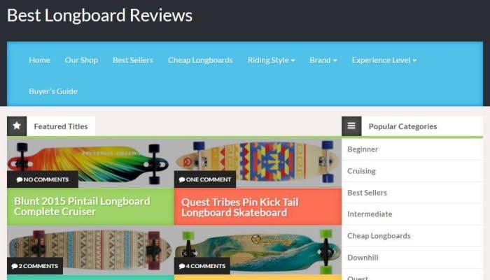 LongBoardReviews -Amazon Affiliate Website Example