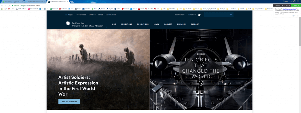 The home page of the National Air & Space Museum Website.