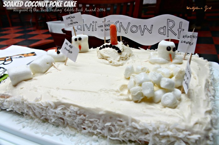 Edible Book Festival 2014 Melting Snowmen Sculptures Coconut Poke Cake 13--041114