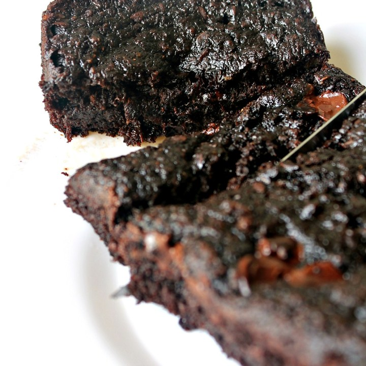 Healthy Sticky Fudgy Chocolate Cake/Brownies  (GF, Dairy-Free, Nut-Free, & Weird-Free)