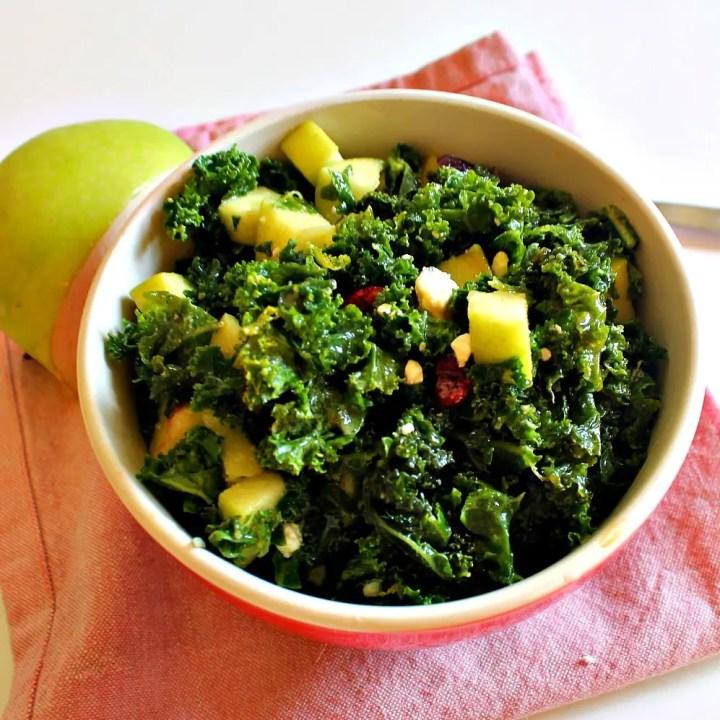 Miso Kale Salad with Apples, Cranberries, Sunflower Seeds, + Feta